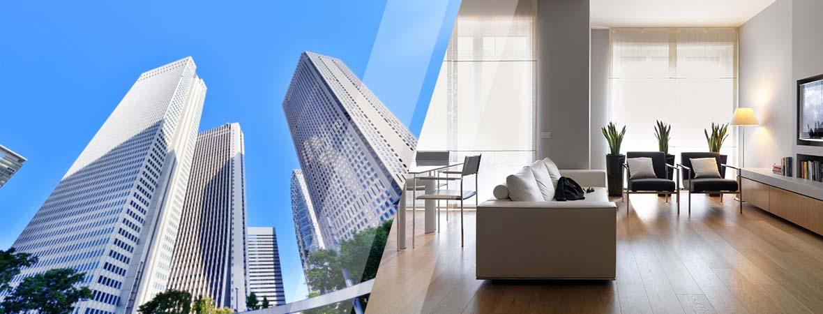高いビルときれいなリビングルーム
